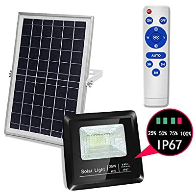 Solar Flood Lights Outdoor Remote - LED Solar Powered Street Security Lighting Waterproof Auto On/Off Adjustable Install for Garden Yard Pathway