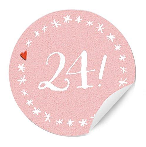 Eine der Guten 24 Adventskalenderzahlen - schöne runde Sticker für selbst gebastelte Adventskalender, für Mädchen und andere Rosa Liebhaber, Matte Papieraufkleber 40 mm, Bitte Farbe wählen