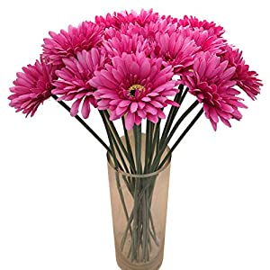 "cn-Knight Artificial Flower 12pcs 22"" Long Stem Silk Daisy Faux Mums Flower Chrysanth Gerbera for Wedding Bridal Bouquet Bridesmaid Home Decor Office Baby Shower Prom Centerpiece(Dark Pink)"