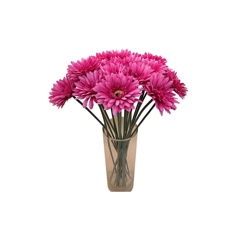 silk flower arrangements cn-knight artificial flower 12pcs 22'' long stem silk daisy faux mums flower chrysanth gerbera for wedding bridal bouquet bridesmaid home decor office baby shower prom centerpiece(dark pink)