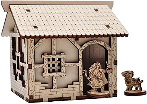 Casa medieval pequeña de madera, terreno de mesa, 28 mm, para D&D, mazmorras y dragones