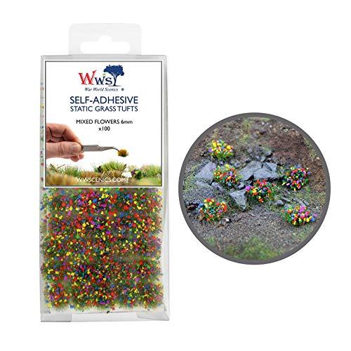War World Scenics 6mm Blumen Mischung Selbstklebende Statische Grasbüschel x 100 - Modellbau Modellbahn Landschaftsbau Diorama Miniatur Tabletop Spiele Wargame Modelleisenbahn Geländebau