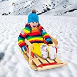 Sporting Goods Outdoor Recreation Winter Sports Activities Kids Baby Play Red Wood Sled Sturdy Vintage Design with Wide Seat and Backrest Skiing Time Stable Safe Easy Carry Storage No Need Assembly