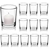 LETINE Glass Votive Candle Holders Set of 12, Clear Tealight Candle Holder Bulk, Ideal for Wedding Centerpieces, Valentines Day Decor and Home Decor