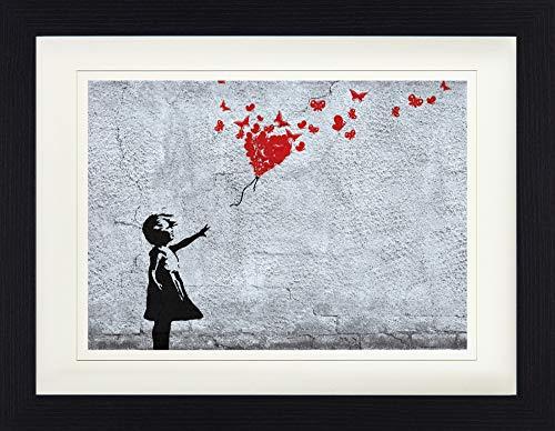1art1 Mädchen - Mädchen Mit Luftballon Und Schmetterlingen, Banksy-Style Gerahmtes Bild Mit Edlem Passepartout   Wand-Bilder   Kunstdruck Poster Im Bilderrahmen 40 x 30 cm