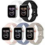 5 Pack Bands Compatible with Apple Watch Band 42mm 44mm, Soft Silicone Sport Replacement Strap Compatible with iWatch Series 6 5 4 3 2 1 SE Women Black/White/Stone/Pink Sand/Lavender Gray 42mm/44mmS/M