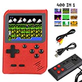Sefitopher Mini Retro Handheld Game Console 400 Classic Games Portable Game Console 3' LCD Screen TV Output Support for Connecting TV & 2 Players 800mAh Rechargeable Battery Gift for Kids Adult (Red)