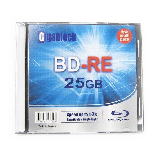 5pcs Gigablock ReWritable Blu-Ray BD-RE 1~2X 25GB Logo Printed Blank Media with Jewel Case
