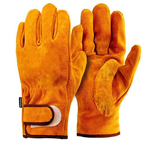 MLS301 Heat Resistant Gloves, Camping Gloves, Leather Gloves, BBQ, Heat Resistant Gloves, Outdoor Use, Work Leather Gloves