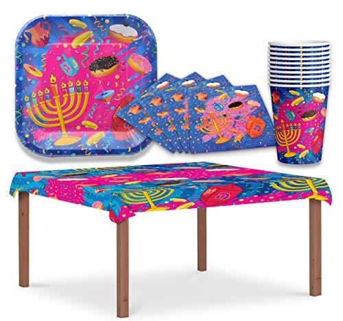Hanukkah Paper Goods Set - Mega Pack - Serves 10 - Plates, Cups, Napkins, Tablecloth