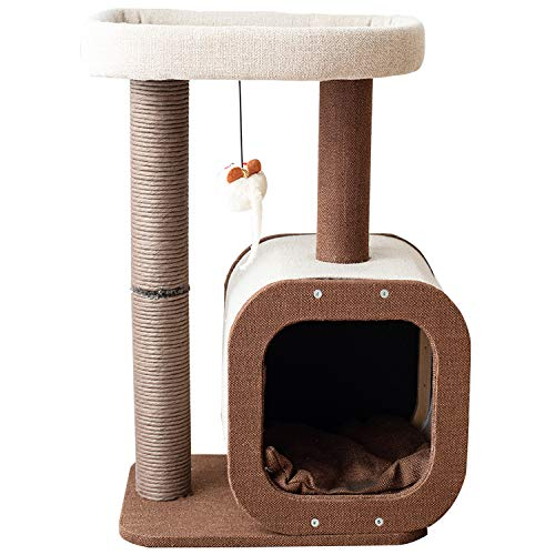Catry Kitten Cat Tree Condo with Paper Rope Covered Scratching Post Activity Center for Climbing Relaxing and Playing Natural Jute Fiber Pet Stand