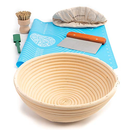 Natural 6 Piece Rattan Bread Proofing Basket Set, 9 Inch Banneton Sourdough Proofer Bowl with Cloth Liner, Stainless Steel Scraper, Lame Bread Scoring Knife, Round Silicone Mat and Cleaning Brush