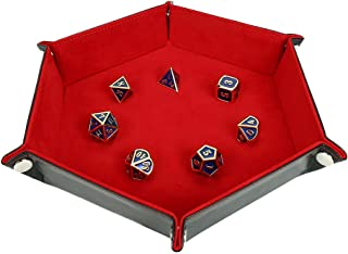Dice Tray Metal Dice Rolling Tray for RPG, DND and Other Table Games, Holder Storage Box for Dice Set, Double Sided Folding Rectangle PU Leather and Red Velvet