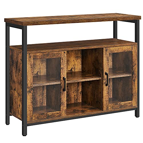 VASAGLE Buffet Cabinet, Sideboard with Transparent Glass Doors, Storage Cabinet with Adjustable Shelves, Living Room, Dining Room, Industrial, Rustic Brown and Black ULSC095B01