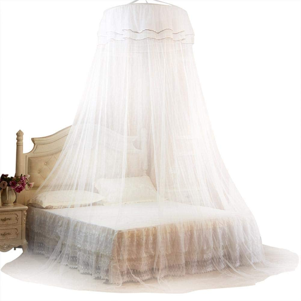 Pokerty Bed Mosquito Net, Breathable 360° Round Canopy Lace Princess Style Mosquito Net Bed Curtain Netting for Bedroom Decoration(White)