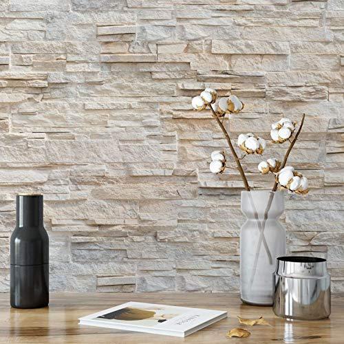 Fototapete Natursteinmauer Tapete Vlies Steinoptik Mauer Stein 3D täuschend echt beige Wall-Art 432x300 cm