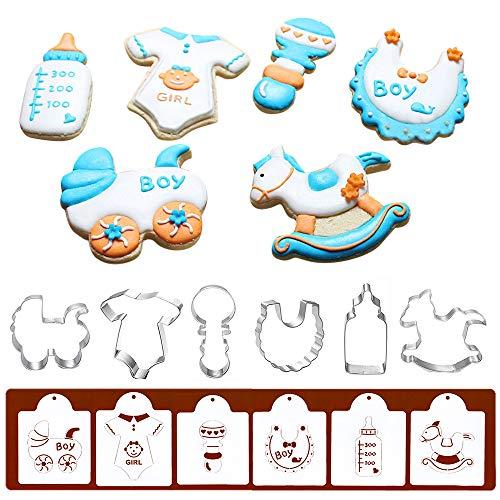 Ausstechformen für Babyparty, mit passenden Plätzchenschablonen – Set mit 12 - 6 Ausstechformen und 6 Keksschablonen, inklusive Babywagen, Einteiler, Rassel, Lätzchen, Flasche und Hobbypferd