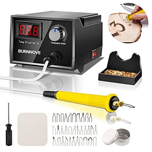 BURNNOVE Máquina de pirograbado Kit de quema de madera 60W 220V con 0 ° C a 750 ° C Temperatura ajustable 30 cabezas de bolígrafo Pantalla digital