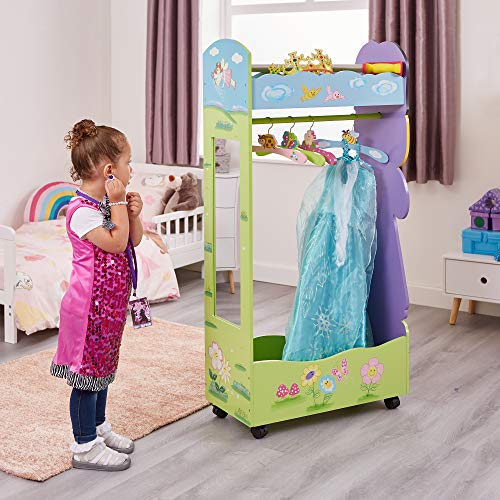 Liberty House Toys Wooden Fairy Dress Up Storage Centre with Hangers, Wood, Various Pinks, 120cm H x 63cm W x 28cm D
