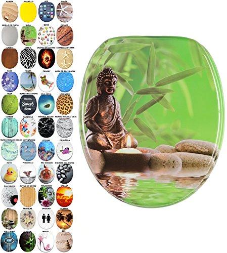 Asiento para inodoro de cierre suave, gran selección de atractivos asientos de inodoro con calidad superior y duradera de madera (Buda)
