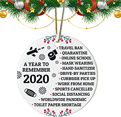 Ecledo 2020 Quarantine Christmas Decorations Funny Pendant 2.8 inch Ceramic Toilet Paper Crisis,Christmas Ornament Pandent for Family Friends Gift