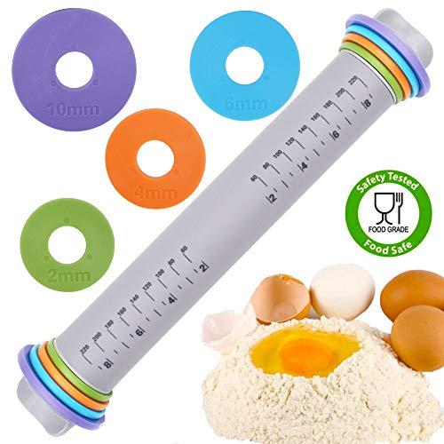 WENTS Teigroller mit Silikonmatte, Teigroller Einstellbar,mit Vier Abnehmbaren Ringmehlstäbchen zum Backen von Teig, Pizza, Kuchen, Gebäck, Nudeln und Keksen
