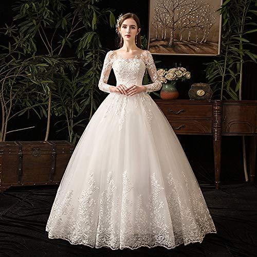 DEAR-JY Brautkleider,Luxuriöse Spitze Langarm Hochzeitskleid,Die länge des bodens ist super fee Prinzessin Kleid,Geeignet für hochzeitsbankett Party Abendkleider,Ivory,L