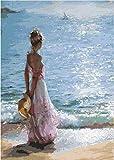 Pintar por Numeros para Adultos Niños, DIY Pintura al óleo con Pinceles y Pinturas (16 * 20 Pulgadas, Sin Marco) Decoración hogareña 40 x 50 cm - Chica en la playa