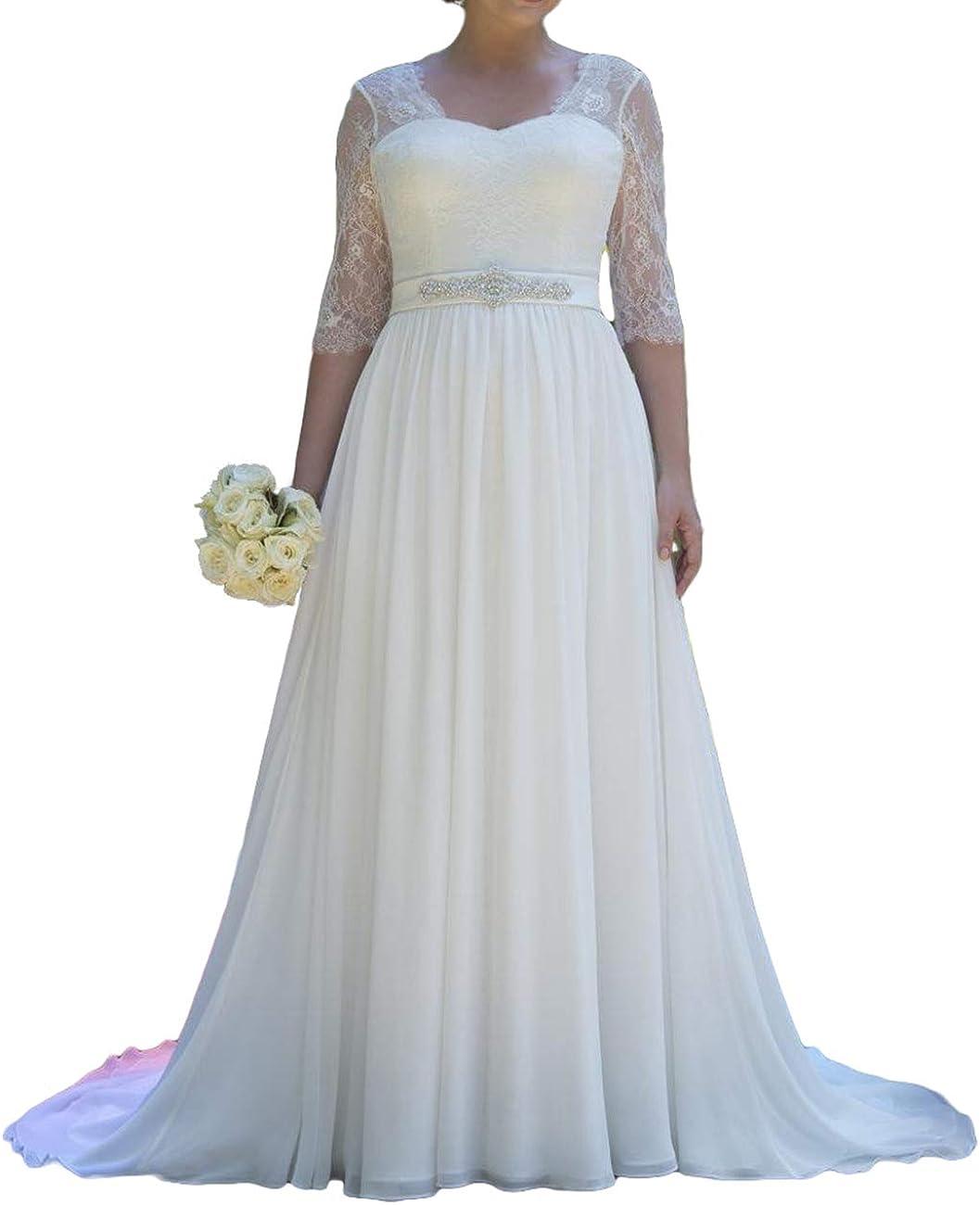 Wedding Dresses for Bride Lace Bridal Gowms Beach Bride Dress Chiffon Wedding Gown