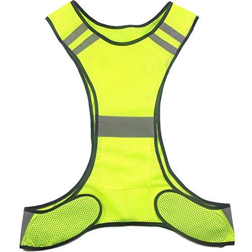 Ueasy hochsichtbare Laufen Rad sicherheits Weste Warnweste mit reflektierenden Streifen (Gelb)
