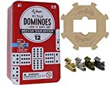 Regal Games Double 12 Mexican Train Dominoes with Wooden Hub and...