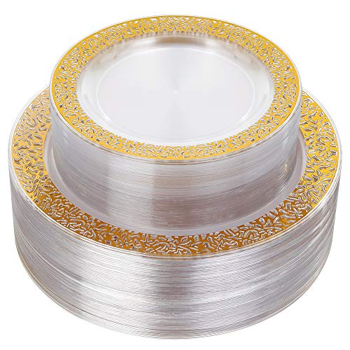 IOOOOO 96pcs Plastic Plates with Gold Rim,Gold Disposable Plates with Lace Edge,Clear Plastic Plates Includes: 48 Dinner Plates 10.25 Inch and 48 Salad/Dessert Plates 7.5 Inch