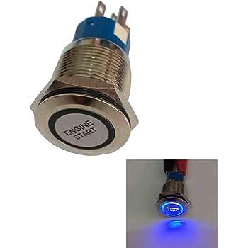 Mintice 12V Car Vehicle Blue LED Light Headlight Push Button Metal Toggle Switch 19mm Engine Start Socket Plug