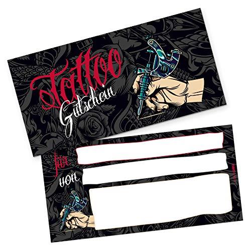 itenga Geschenkgutschein Verpackung I Geschenkkarte I Motiv Tattoo I Gutschein I 21,0 x 10,5 cm I Postkarte zum Ausfüllen