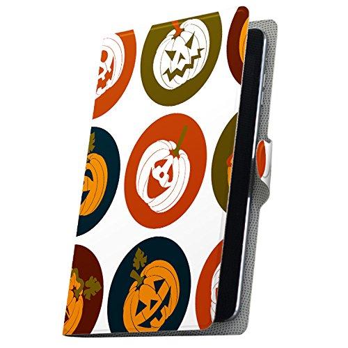 タブレット 手帳型 タブレットケース タブレットカバー カバー レザー ケース 手帳タイプ フリップ ダイアリー 二つ折り 革 かぼちゃ アイコン 赤 レッド 模様 008538 01 KYT31 kyocera 京セラ Qua tab キュア タブ 01