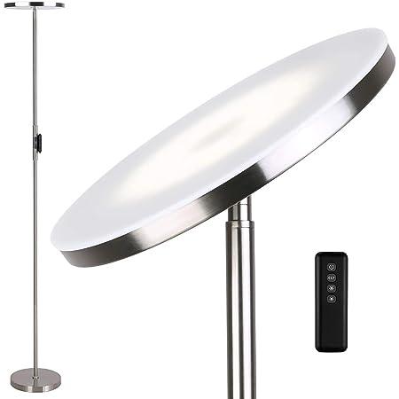 Anten Lampadaire sur pied salon Stjarna | nickel | 30W Lampe sur pied dimmable avec télécommande | 3 couleur de lumière + Luminosité réglable | Lampadaire led brillants pour le salon bureau.