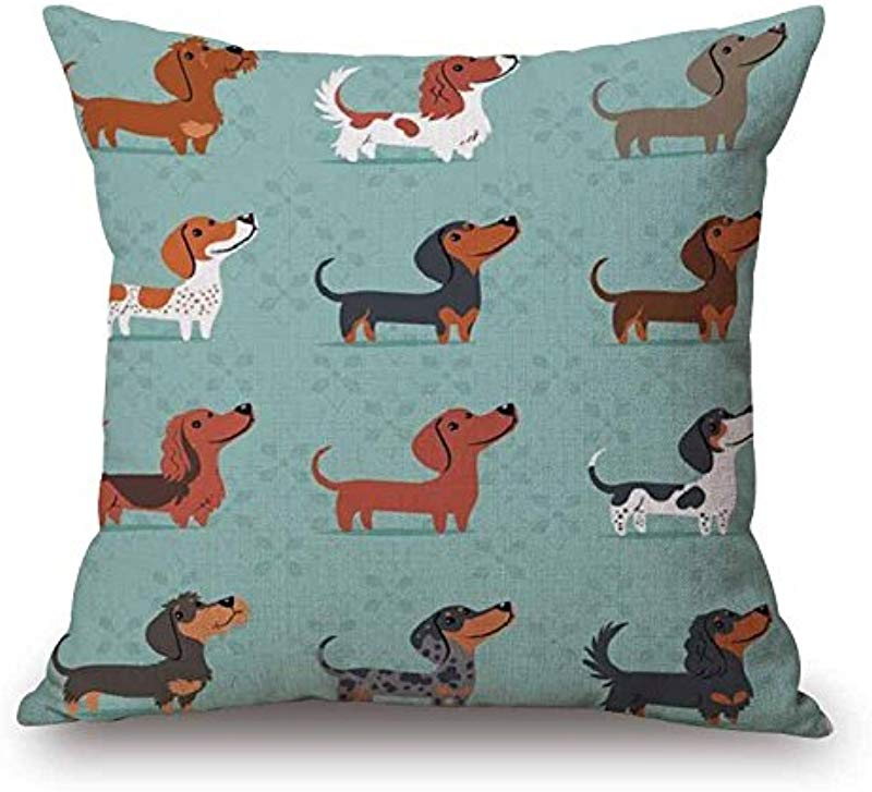 Hidoon Christmas Festival Dachshund Cushion Cover 45X45cm Happy Birthday Sausage Dog Pillow Cases Kids Gift Bedroom Sofa Decoration Pattern 10