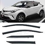 LQQDP 4pcs Smoke Tint With Chrome Trim Outside Mount Tape On/Clip On Style PVC Sun Rain Guard Vent Window Visors Fit 17-20 Toyota C-HR CHR
