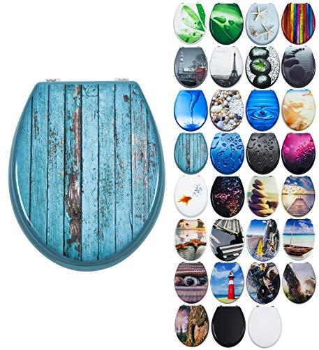 Grafner MDF WC Sitz mit Absenkautomatik viele schöne Motive zur Auswahl - stabile Qualität - einfache Montage WC Deckel Klobrille Softclose (Blue Planks)
