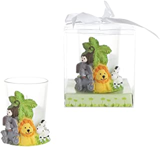 Lunaura Party Keepsake - Set of 12 Safari Jungle Animals Candle Set Favors For Birthday Parties, Special Celebrations, Toys, Elephant, Girls & Boys | Encased In A Clear Gift Box With Satin Ribbon