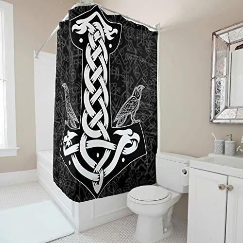 Firelife Wikinger Runen Hammer Rabe Duschvorhang Anti-Schimmel Wasserdicht Waschbar Polyester Badewanne Vorhänge mit Haken Schwarz 180x200cm