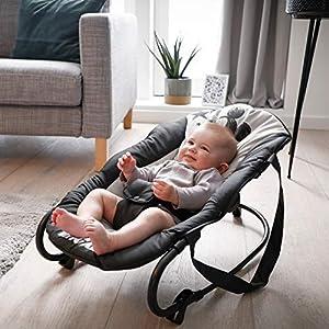 Hauck Babywippe Rocky von Disney, Schaukelfunktion, verstellbare Rückenlehne, Sicherheitsgurt und Tragegriffe, ab Geburt bis 9 kg verwendbar, kippsicher und tragbar, Schwarz