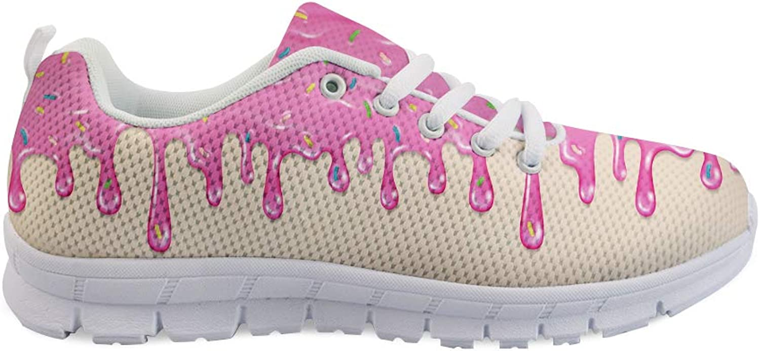 Owaheson Lace-up Sneaker Training shoes Mens Womens Pink Donut Sprinkles Spilled Cream