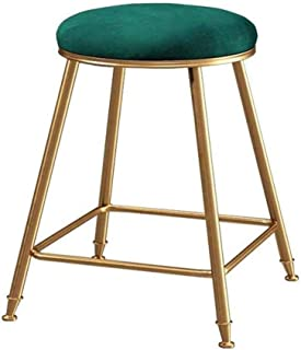 Bar stools Round Fabric Velvet Sapphire Green Barstool Casual Upholstered Dining Chair with Metal Legs Thick Upholstery Se...