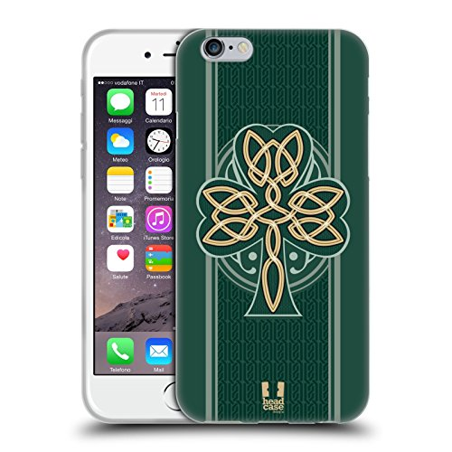 Head Case Designs Dara Knot Celtic Shamrock Soft Gel Case and Matching Wallpaper Compatible with Apple iPhone 6 / iPhone 6s