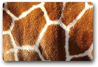 ZMvise Rubber Washable Welcome Mat Giraffe Pattern Fur Custom Doormat 18 x 30 inch