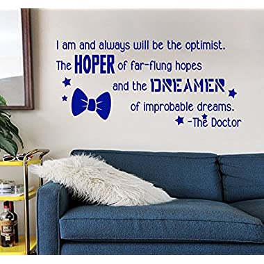 GMDdecals DW Inspired Hope and Dream Bow Tie Quote [BLUE] Vinyl Wall Decal by 24  x 12  Dr Doctor Inspirational Who Screwdriver Fandom Library Decor
