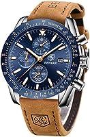 BENYAR Montre Homme chronographe pour Homme Mouvement à Quartz Bracelet en Cuir Montre de Sport d'affaires de Mode 30M...