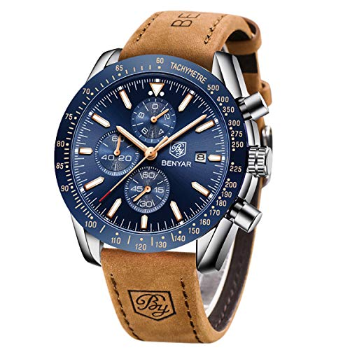 BY BENYAR Mens Watches Analog Chronograph Quartz Movement Stylish Sports Designer Wrist Watch 30M Waterproof Elegant Gift for Men