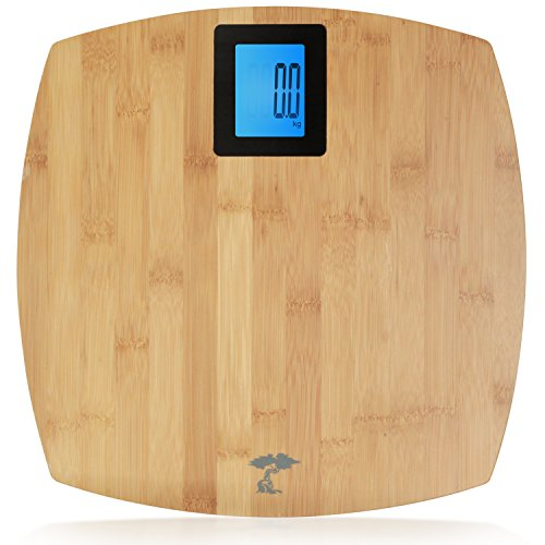 Deluxe Bamboo Bathroom Scale. Backlit Large Display. 400lb Capacity.